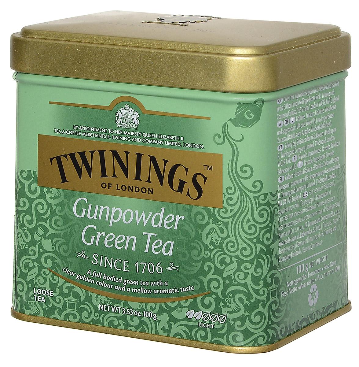 Twinings Gunpowder Green зеленый листовой чай, 100 г (ж/б)070177029784Twinings Gunpowder Green – крупнолистовой зеленый чай Ганпаудер, скрученный в форме пороха, имеет вид мелкой дроби или картечи. При заваривании получается душистый прозрачный напиток светло-золотистого цвета с мягким бархатистым вкусом.