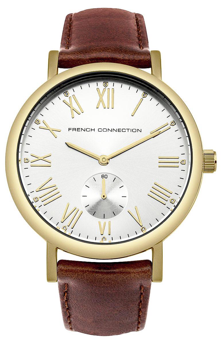 Часы наручные French Connection, цвет: золотистый, коричневый. FC1259TGFC1259TGСтильные часы French Connection выполнены из нержавеющей стали и минерального стекла. Циферблат оформлен символикой бренда. Корпус изделия имеет степень влагозащиты 3 Bar, оснащен кварцевым механизмом и дополнен устойчивым к царапинам минеральным стеклом. Ремешок выполнен из натуральной кожи и оснащен пряжкой, которая позволит с легкостью снимать и надевать изделие. Часы поставляются в фирменной упаковке. Часы French Connection классического дизайна прекрасно дополнят образ.