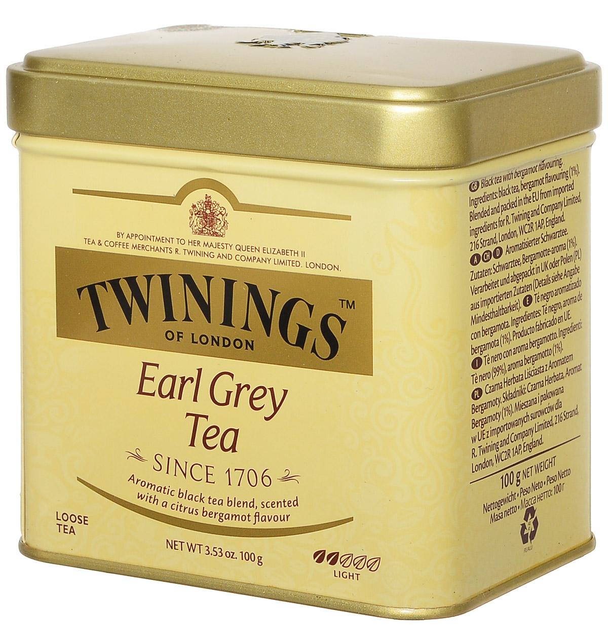 Twinings Earl Grey Tea черный ароматизированный листовой чай, 100 г (ж/б)070177029623Названный в честь британского премьер-министра второго Графа Грея, Twinings Earl Grey Tea является неотъемлемой частью традиционного английского чаепития. Насыщенный черный чай, ароматизированный натуральным маслом из кожуры бергамота, дает яркий настой со сладким ароматом и цитрусовым привкусом.