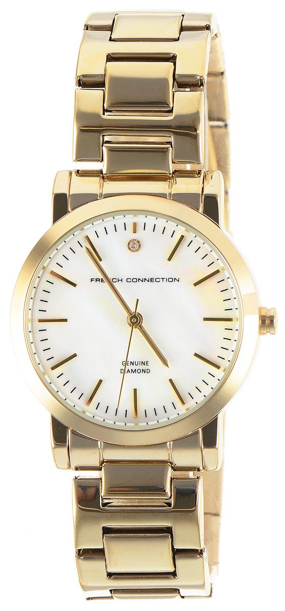 Часы наручные женские French Connection FC, цвет: золотистый. FC1250GMFC1250GMСтильные часы French Connection FC - это модный и практичный аксессуар, который не только выгодно дополнит ваш наряд, но и будет незаменим для каждой современной девушки, ценящей свое время. Корпус выполнен из нержавеющей стали. Перламутровый циферблат оформлен логотипом бренда и украшен инкрустацией натуральным бриллиантом. Корпус изделия имеет степень влагозащиты 3 Bar, оснащен кварцевым механизмом и дополнен устойчивым к царапинам минеральным стеклом. Изысканный ремешок выполнен из нержавеющей стали и дополнен раскладывающейся застежкой, которая позволяет с легкостью снимать и надевать изделие. Часы поставляются в фирменной упаковке. Часы French Connection подчеркнут изящество ваших рук и ваш неповторимый стиль и элегантность.