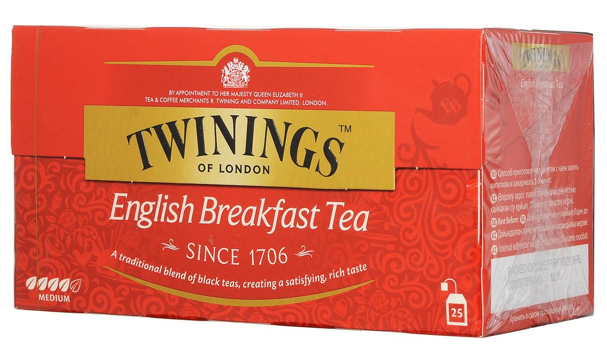 Twinings English Breakfast Tea черный чай в пакетиках, 25 шт070177010775Twinings English Breakfast - классическая смесь черных чаев с насыщенным и приятным вкусом.