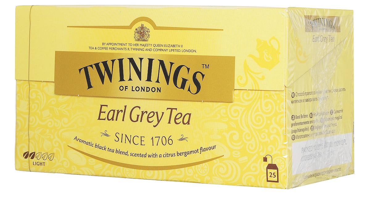 Twinings Earl Grey Tea черный ароматизированный чай в пакетиках, 25 шт070177010768Twinings Earl Grey - ароматная смесь черного чая с цитрусовым вкусом бергамота.