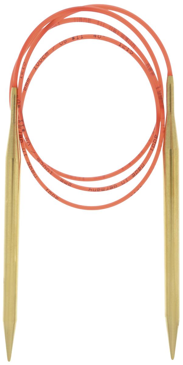 Спицы Addi, с удлиненным кончиком, круговые, цвет: золотистый, красный, диаметр 8 мм, длина 100 см755-7/8-100Спицы из латуни Addi с удлиненным кончиком, скрепленные гибким нейлоновым шнуром, не содержат никель и подходят чувствительным к этому металлу людям. Поверхность спиц менее гладкая, чем никелированная, что помогает при работе со скользкой пряжей. Изделие полое и легкое, поэтому руки абсолютно не устают при вязании. Поскольку латунь является природным материалом, возможно со временем изменение цвета спиц. Вы сможете вязать для себя, делать подарки друзьям. Работа, сделанная своими руками, долго будет радовать вас и ваших близких.
