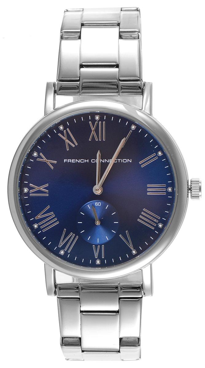 Часы наручные French Connection FC, цвет: серебристый, синий. FC1259USMFC1259USMСтильные часы French Connection - это модный и практичный аксессуар, который не только выгодно дополнит ваш образ, но и будет незаменим для каждого современного человека, ценящего свое время. Корпус часов выполнен из нержавеющей стали. Циферблат оформлен символикой бренда и оснащен отдельным индикатором с секундной стрелкой. Корпус изделия имеет степень влагозащиты 3 Bar, оснащен кварцевым механизмом и дополнен устойчивым к царапинам минеральным стеклом. Ремешок выполнен из нержавеющей стали и оснащен раскладывающейся застежкой, которая позволит с легкостью снимать и надевать изделие. Часы поставляются в фирменной упаковке. Часы French Connection подчеркнут подчеркнут ваш неповторимый стиль и дополнят любой наряд.