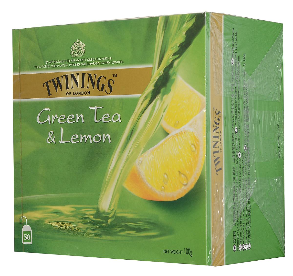 Twinings Green Tea & Lemon зеленый чай с цедрой лимона в пакетиках, 50 шт070177233044Twinings Green Tea & Lemon - уникальная смесь зеленого чая с добавлением лимонной цедры.