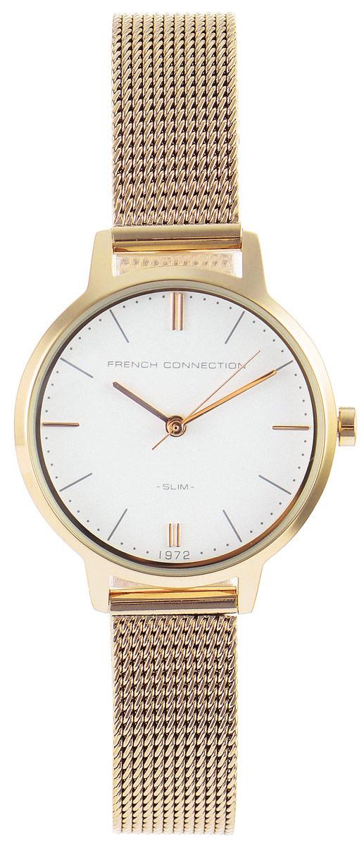 Часы наручные женские French Connection Slim Range, цвет: золотистый. FC1255GMFC1255GMСтильные часы French Connection Slim Range - это модный и практичный аксессуар, который не только выгодно дополнит ваш наряд, но и будет незаменим для каждой современной девушки, ценящей свое время. Корпус с минеральным стеклом выполнен из нержавеющей стали. Циферблат оформлен символикой бренда. Корпус изделия имеет степень влагозащиты 3 Bar, оснащен кварцевым механизмом и дополнен устойчивым к царапинам минеральным стеклом. Ремешок выполнен из нержавеющей стали и дополнен застежкой-защелкой, которая позволяет с легкостью снимать и надевать изделие. Часы поставляются в фирменной упаковке. Часы French Connection подчеркнут изящество ваших рук и ваш неповторимый стиль и элегантность.