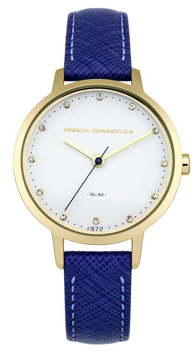 Часы наручные женские French Connection Slim Range, цвет: синий, белый. FC1254UGFC1254UGСтильные женские часы French Connection Slim Range - это модный и практичный аксессуар, который не только выгодно дополнит ваш наряд, но и будет незаменим для каждой современной девушки, ценящей свое время. Корпус выполнен из нержавеющей стали. Контрастный циферблат оформлен логотипом бренда и инкрустирован чешскими кристаллами. Корпус изделия имеет степень влагозащиты 3 Bar, оснащен кварцевым механизмом и дополнен устойчивым к царапинам минеральным стеклом. Изысканный узкий ремешок выполнен из натуральной кожи и дополнен пряжкой, которая позволяет с легкостью снимать и надевать изделие. Часы поставляются в фирменной упаковке. Часы French Connection подчеркнут изящество ваших рук и ваш неповторимый стиль и элегантность.