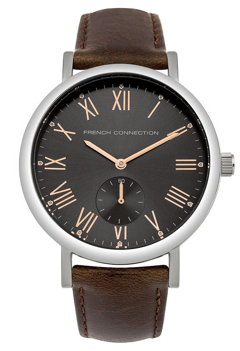 Часы наручные French Connection, цвет: серебряный, коричневый. FC1259TFC1259TСтильные часы French Connection выполнены из нержавеющей стали и минерального стекла. Циферблат оформлен символикой бренда и оснащен отдельным индикатором с секундной стрелкой. Корпус изделия имеет степень влагозащиты 3 Bar, оснащен кварцевым механизмом и дополнен устойчивым к царапинам минеральным стеклом. Ремешок выполнен из натуральной кожи и оснащен пряжкой, которая позволит с легкостью снимать и надевать изделие. Часы поставляются в фирменной упаковке. Часы French Connection классического дизайна прекрасно дополнят образ.