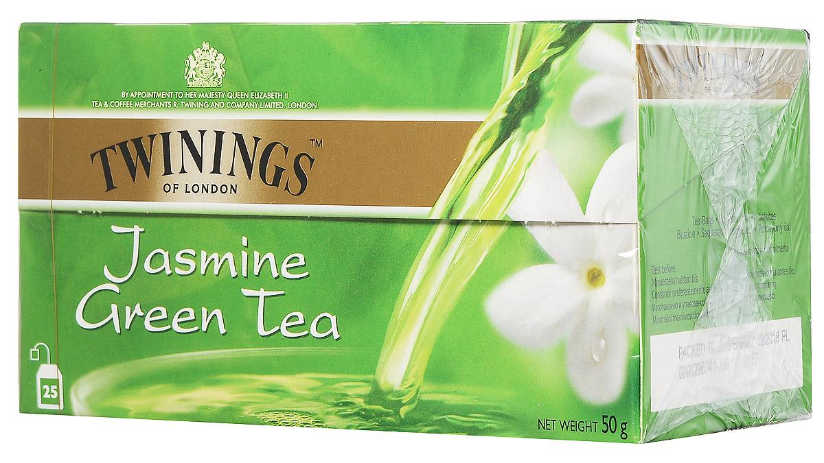 Twinings Green Tea & Jasmine зеленый чай с цветами жасмина в пакетиках, 25 шт free shipping 2015 yr new tea premium jasmine pearl tea jasmine longzhu flower tea green tea 250g bag vacuum packaging