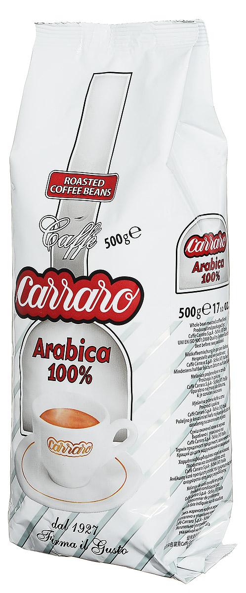 Carraro Arabica 100% кофе в зернах, 500 г8000604001443Carraro Arabica - это ароматный вкус сладости для изысканных гурманов. Смесь арабики, которая представляет собой максимум с точки зрения аромата и тонкости вкуса - визитная карточка фабрики. Это плод постоянных исследований и очень тщательной обработки - для самых изысканных ценителей.