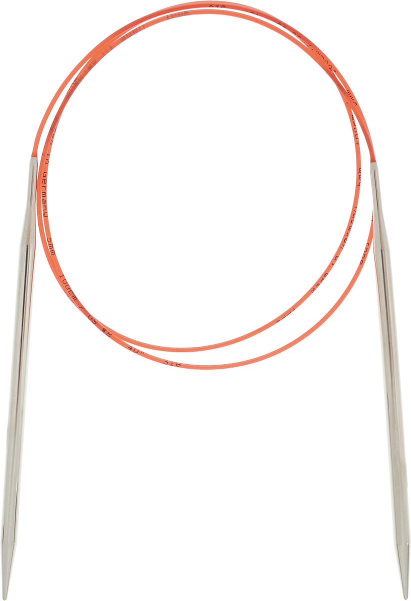 Спицы Addi, с удлиненным кончиком, круговые, цвет: серебристый, красный, диаметр 5 мм, длина 100 см775-7/5-100Спицы Addi изготовлены из латуни с никелированной поверхностью. Полые, очень легкие спицы с удлиненным кончиком скреплены мягким и гибким нейлоновым шнуром. Гладкое никелированное покрытие и тонкие переходы от спицы к шнуру позволяют петлям легче скользить. Малый вес изделия убережет ваши руки от усталости при вязании. Вы сможете вязать для себя, делать подарки друзьям. Работа, сделанная своими руками, долго будет радовать вас и ваших близких.