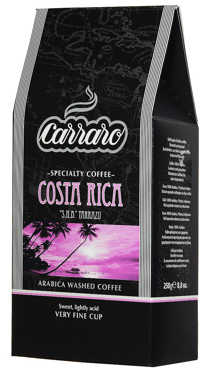 Carraro Costa Rica Arabica 100% кофе молотый, 250 г8000604900173Кофе Carraro Costa Rica выращивается в районе Таррацу на высоте 1500 метров над уровнем моря, где местный климат создает на почве идеальные условия для произрастания кофейной ягоды. Электронная влажная обработка с последующей сортировкой зерна вручную приносит чистый, сладковатый вкус с легкой кислинкой. Мягкая консистенция и богатый цветочный аромат. Эти характеристики делают его идеальным напитком второй половины дня, особенно для американо, идеально сочетаясь со сладким печеньем и пирожными.