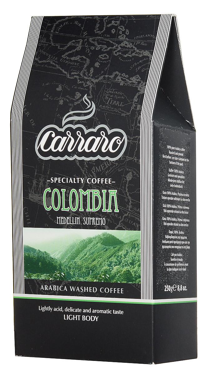 Carraro Colombia Arabica 100% кофе молотый, 250 г8000604900180Колумбия является вторым по величине производителем арабики после Бразилии, но в этой стране продукт слаще и обычно определяется как Suave (Мягкий). Тщательно подобранные зерна Супремо, выращенные в районе Медельин, большие по размеру и плосковатые по форме, дают деликатно-сладковатый напиток Carraro Colombia Arabica с мягкой консистенцией и низкой кислотностью. Идеально подходит для употребления в любое время дня.