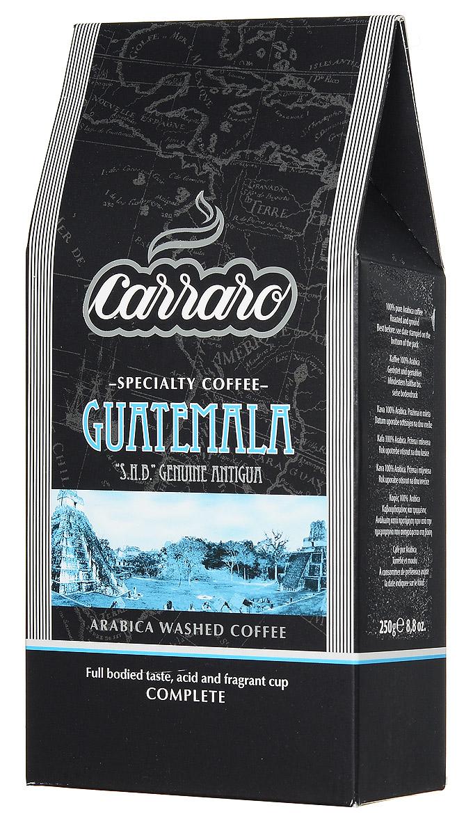 Carraro Guatemala Arabica 100% кофе молотый, 250 г8000604900166Самые известные сорта кофе из Гватемалы выращиваются в районе Антигуа на высотах от 1600 до 2000 метров над уровнем моря. Местные производители до сих пор используют традиционные в данной области способы выращивания, сбора и переработки кофейной ягоды. Результат - отличный кофе Carraro Guatemala Arabica с цветочным ароматом и легкими нотками альпийских трав. Шоколадная сладость, насыщенная консистенция с небольшой кислинкой. Отлично сочетается как со сладкими, так и обычными блюдами, равно как и подходит для американо.