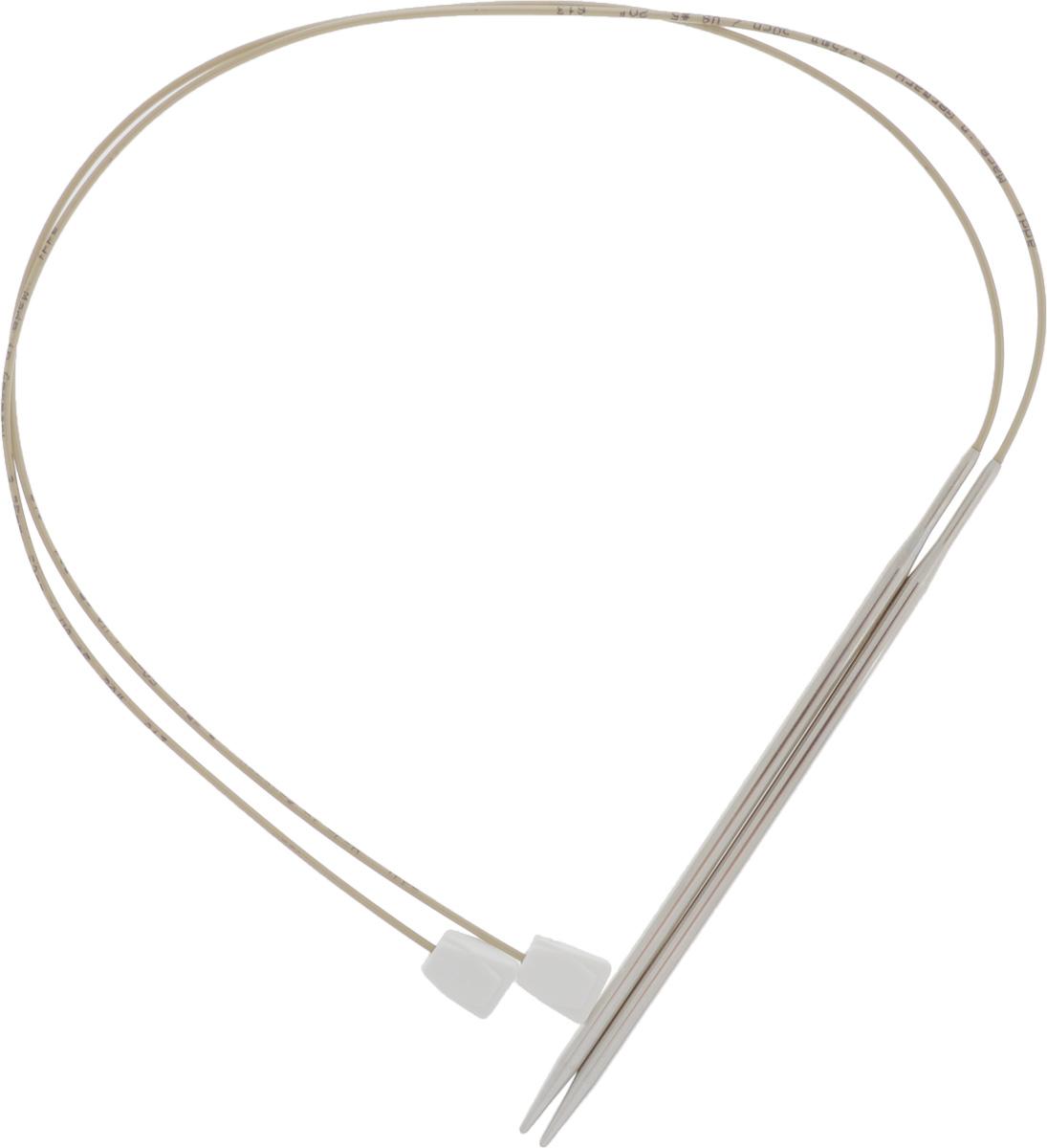 Спицы Addi, с фиксаторами на лесках, диаметр 3,75 мм, длина 50 см, 2 шт181-7/3.75-50Оригинальные спицы Addi - сочетание традиционных прямых спиц и гибкой лески с фиксатором на конце. Общая длина металлической части спиц и лески составляет 50 см, при этом вес этих спиц гораздо меньше традиционных прямых спиц. Гибкость лески позволяет распределить вес изделия, что облегчает вязание больших, тяжелых вещей. Фиксаторы из пластика не позволят полотну соскользнуть со спиц. Лёгкость скольжения петель обеспечивают никелевое покрытие металлической части и высококачественная нейлоновая леска. Все эти достоинства спиц с фиксаторами на лесках позволят вам в полной мере насладиться процессом вязания, а вещи, связанные с помощью таких спиц, будут согревать теплом вас и ваших близких.