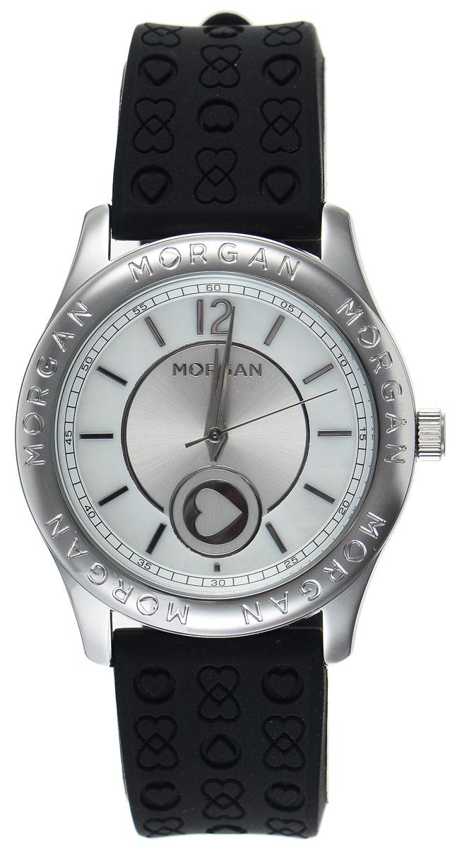 Часы наручные женские Morgan, цвет: стальной, черный. M1132BBRM1132BBRОригинальные часы Morgan выполнены из стали, оформлены символикой бренда. Циферблат украшен вставкой из перламутра. Лаконичный корпус часов надежно защищен устойчивым к царапинам минеральным стеклом, а также имеет степень влагозащиты 3 Bar. Часы оснащены кварцевым механизмом, дополнены ремешком из силикона, который застегивается на практичную пряжку. Изделие поставляется в фирменной упаковке. Часы Morgan подчеркнут изящество женской руки и отменное чувство стиля у их обладательницы.