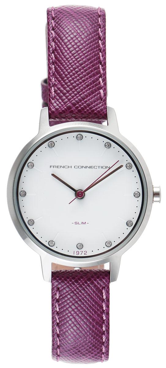 Часы наручные женские French Connection Slim Facet, цвет: фиолетовый. FC1254VFC1254VСтильные женские часы French Connection Slim Range - это модный и практичный аксессуар, который не только выгодно дополнит ваш наряд, но и будет незаменим для каждой современной девушки, ценящей свое время. Корпус выполнен из нержавеющей стали. Контрастный циферблат оформлен логотипом бренда и инкрустирован чешскими кристаллами. Корпус изделия имеет степень влагозащиты 3 Bar, оснащен кварцевым механизмом и дополнен устойчивым к царапинам минеральным стеклом. Изысканный узкий ремешок выполнен из натуральной кожи и дополнен пряжкой, которая позволяет с легкостью снимать и надевать изделие. Часы поставляются в фирменной упаковке. Часы French Connection подчеркнут изящество ваших рук и ваш неповторимый стиль и элегантность.