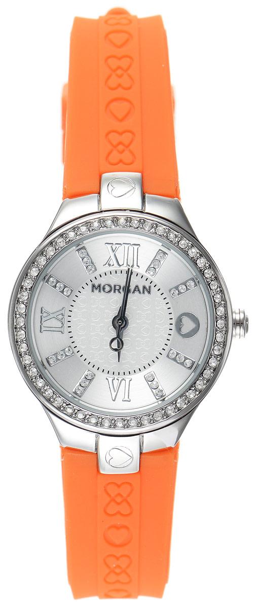 Часы наручные женские Morgan, цвет: стальной, оранжевый. M1138OBRM1138OBRОригинальные часы Morgan выполнены из стали, оформлены символикой бренда и инкрустированы чешскими кристаллами. Лаконичный корпус часов надежно защищен устойчивым к царапинам минеральным стеклом. Часы оснащены кварцевым механизмом, дополнены ремешком из силикона, который застегивается на практичную пряжку. Изделие поставляется в фирменной упаковке. Часы Morgan подчеркнут изящество женской руки и отменное чувство стиля у их обладательницы.