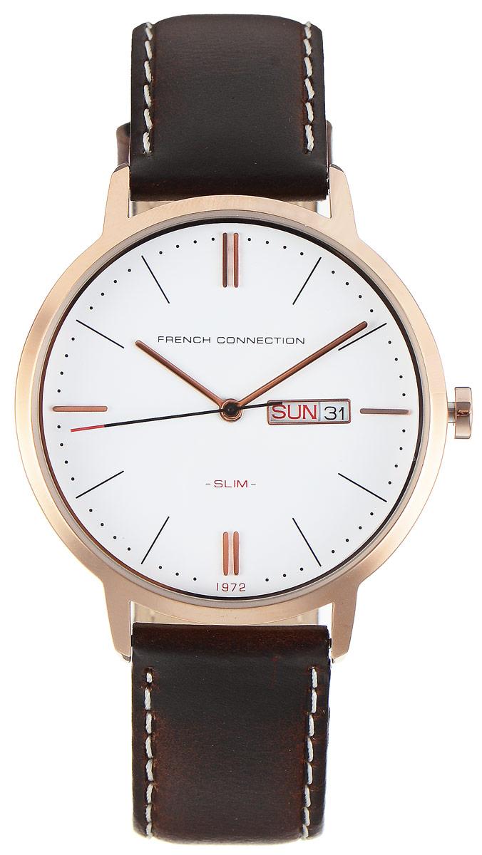 Часы наручные French Connection Slim Range, цвет: темно-коричневый. FC1262TRGFC1262TRGСтильные часы French Connection Slim Range - это модный и практичный аксессуар, который не только выгодно дополнит ваш образ, но и будет незаменим для каждого современного человека, ценящего свое время. Корпус с минеральным стеклом выполнен из нержавеющей стали. Циферблат оформлен символикой бренда. Часы дополнены хронографом и имеют индикатор даты. Корпус изделия имеет степень влагозащиты 3 Bar, оснащен кварцевым механизмом и дополнен устойчивым к царапинам минеральным стеклом. Ремешок выполнен из натуральной кожи и дополнен пряжкой, которая позволяет с легкостью снимать и надевать изделие. Часы оснащены индикатором дня недели и даты. Часы поставляются в фирменной упаковке. Часы French Connection подчеркнут ваш неповторимый стиль и дополнят любой наряд.