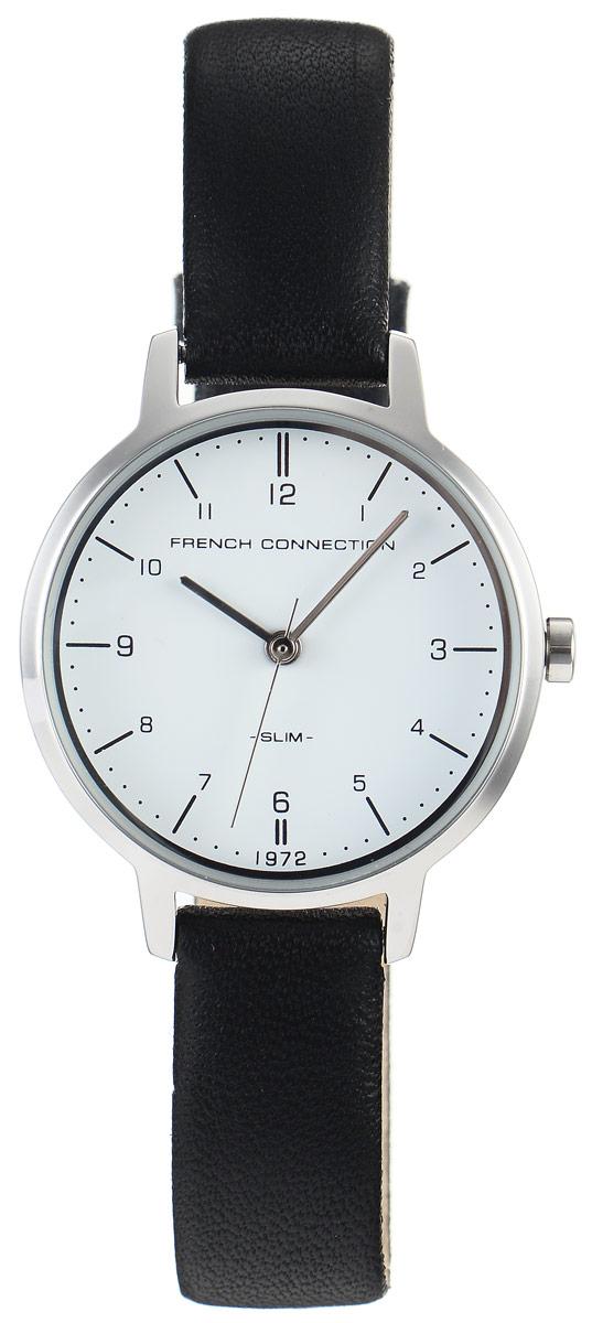 Часы наручные женские French Connection Slim Range, цвет: черный. FC1256BFC1256BСтильные часы French Connection Slim Range - это модный и практичный аксессуар, который не только выгодно дополнит ваш наряд, но и будет незаменим для каждой современной девушки, ценящей свое время. Корпус выполнен из нержавеющей стали. Контрастный циферблат оформлен логотипом бренда. Корпус изделия имеет степень влагозащиты 3 Bar, оснащен кварцевым механизмом и дополнен устойчивым к царапинам минеральным стеклом. Изысканный ремешок выполнен из натуральной кожи и дополнен пряжкой, которая позволяет с легкостью снимать и надевать изделие. Часы поставляются в фирменной упаковке. Часы French Connection подчеркнут изящество ваших рук и ваш неповторимый стиль и элегантность.