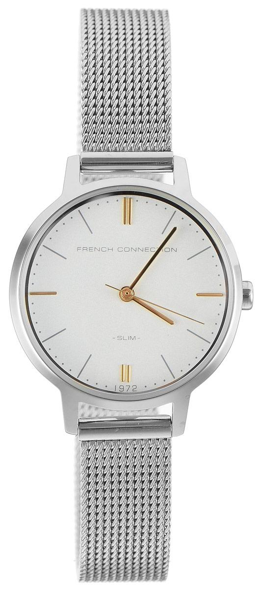 Часы наручные женские French Connection Slim Range, цвет: серебристый. FC1255SMFC1255SMСтильные часы French Connection Slim Range - это модный и практичный аксессуар, который не только выгодно дополнит ваш наряд, но и будет незаменим для каждой современной девушки, ценящей свое время. Корпус с минеральным стеклом выполнен из нержавеющей стали. Циферблат оформлен символикой бренда. Корпус изделия имеет степень влагозащиты 3 Bar, оснащен кварцевым механизмом и дополнен устойчивым к царапинам минеральным стеклом. Ремешок выполнен из нержавеющей стали и дополнен застежкой-защелкой, которая позволяет с легкостью снимать и надевать изделие. Часы поставляются в фирменной упаковке. Часы French Connection подчеркнут изящество ваших рук и ваш неповторимый стиль и элегантность.
