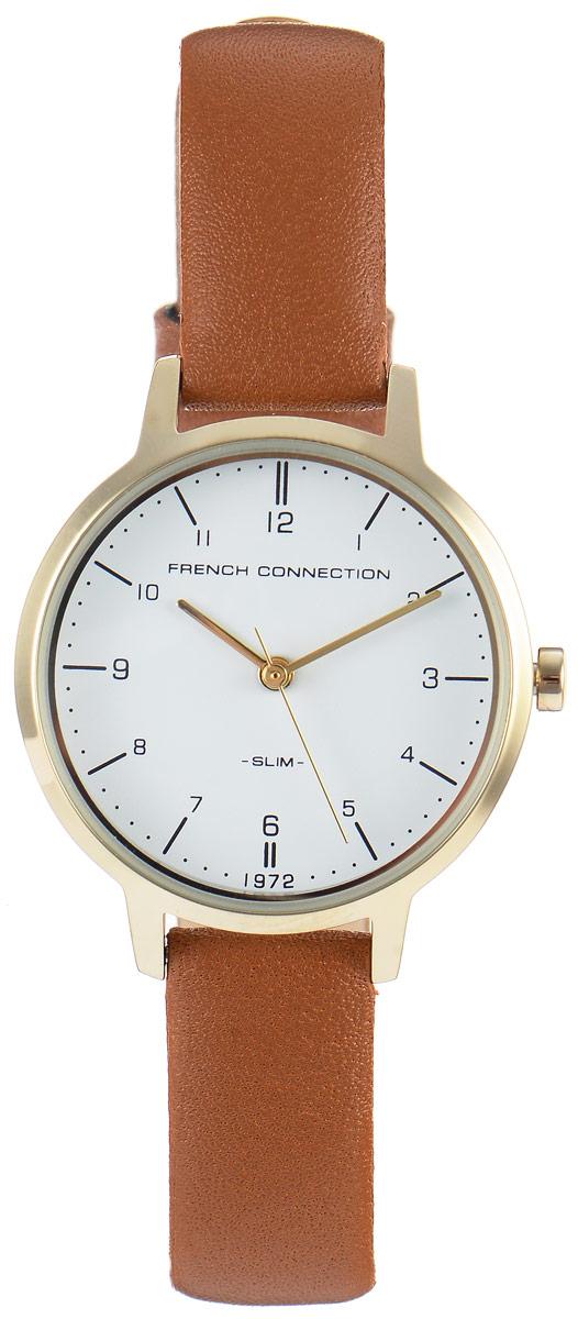 Часы наручные женские French Connection Slim Range, цвет: коричневый. FC1256TGFC1256TGСтильные часы French Connection Slim Range - это модный и практичный аксессуар, который не только выгодно дополнит ваш наряд, но и будет незаменим для каждой современной девушки, ценящей свое время. Корпус выполнен из нержавеющей стали. Контрастный циферблат оформлен логотипом бренда. Корпус изделия имеет степень влагозащиты 3 Bar, оснащен кварцевым механизмом и дополнен устойчивым к царапинам минеральным стеклом. Изысканный ремешок выполнен из натуральной кожи и дополнен пряжкой, которая позволяет с легкостью снимать и надевать изделие. Часы поставляются в фирменной упаковке. Часы French Connection подчеркнут изящество ваших рук и ваш неповторимый стиль и элегантность.