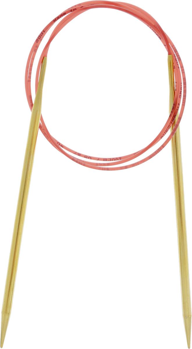 Спицы Addi, с удлиненным кончиком, круговые, цвет: золотистый, красный, диаметр 4,5 мм, длина 100 см755-7/4.5-100Спицы из латуни Addi с удлиненным кончиком, скрепленные гибким нейлоновым шнуром, не содержат никель и подходят чувствительным к этому металлу людям. Поверхность спиц менее гладкая, чем никелированная, что помогает при работе со скользкой пряжей. Изделие полое и легкое, поэтому руки абсолютно не устают при вязании. Поскольку латунь является природным материалом, возможно со временем изменение цвета спиц. Вы сможете вязать для себя, делать подарки друзьям. Работа, сделанная своими руками, долго будет радовать вас и ваших близких.