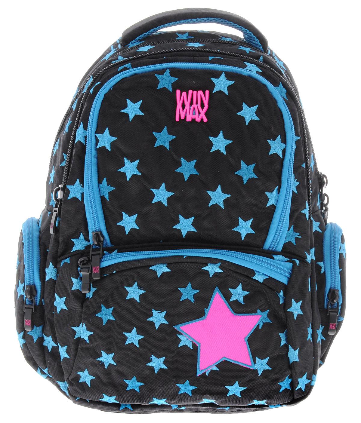 WinMax Рюкзак детский цвет черный бирюзовый K-374K-374_чер/бирюзРюкзак WinMax, украшенный россыпью шелковой вышивки в виде звезд, это совершенно удивительный по качеству и красоте рюкзак. Каждая ниточка с любовью вписана в общий орнамент, а неоновые цвета делают его модным и стильным. Можно с уверенностью сказать, что если вы будете иметь такой рюкзак, окружающие вас люди оценят стиль и качество изделия. Эта модель не только красива и оригинальна, но также очень практична и удобна. Благодаря качественному, легкому и прочному материалу, рюкзак долговечен в носке, а множество отделений поможет разместить все необходимые вещи школьницы. Если вы ищите, что-то совершенно необычное по стилю, оригинальное и качественное, советуем обратить внимание на него. Рюкзак имеет три основных отделения на молнии. Большое отделение содержит внутри мягкое отделение на липучке для планшета или ноутбука и открытый накладной карман-сетку. Отделение дополнено нашивкой, в которую можно занести личные данные владельца. Внутри второго отделения имеются два...