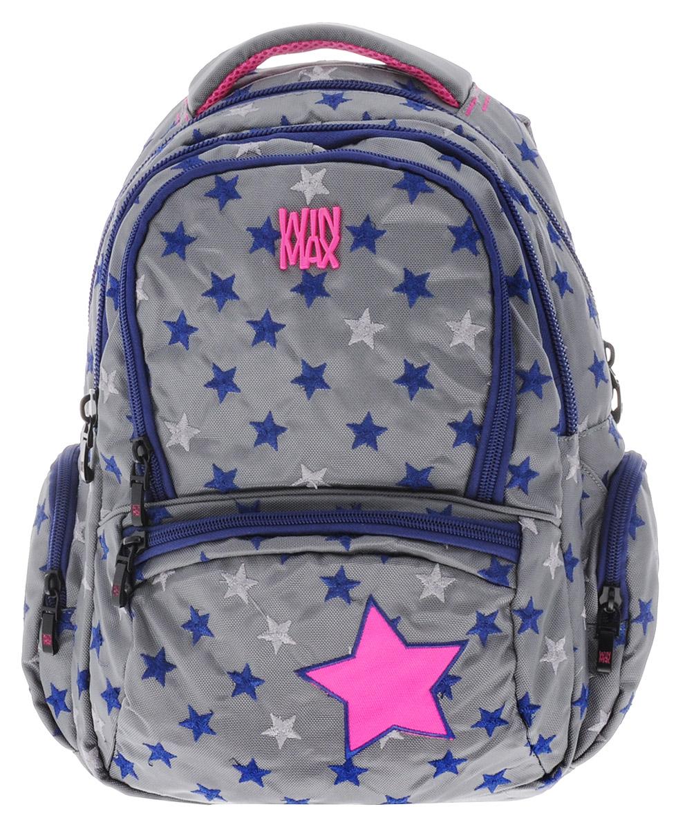 WinMax Рюкзак детский цвет серый K-374K-374_серыйРюкзак WinMax, украшенный россыпью шелковой вышивки в виде звезд, это совершенно удивительный по качеству и красоте рюкзак. Каждая ниточка с любовью вписана в общий орнамент, а неоновые цвета делают его модным и стильным. Можно с уверенностью сказать, что если вы будете иметь такой рюкзак, окружающие вас люди оценят стиль и качество изделия. Эта модель не только красива и оригинальна, но также очень практична и удобна. Благодаря качественному, легкому и прочному материалу, рюкзак долговечен в носке, а множество отделений поможет разместить все необходимые вещи школьницы. Если вы ищите, что-то совершенно необычное по стилю, оригинальное и качественное, советуем обратить внимание на него. Рюкзак имеет три основных отделения на молнии. Большое отделение содержит внутри мягкое отделение на липучке для планшета или ноутбука и открытый накладной карман-сетку. Отделение дополнено нашивкой, в которую можно занести личные данные владельца. Внутри второго отделения имеются два...