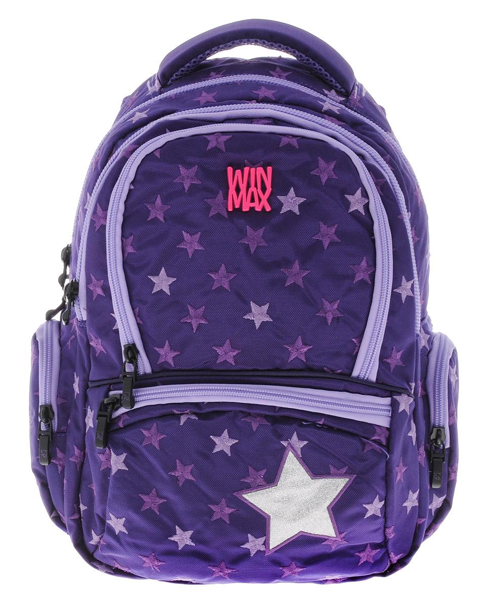 WinMax Рюкзак детский цвет фиолетовый K-374K-374_фиолРюкзак WinMax, украшенный россыпью шелковой вышивки в виде звезд, это совершенно удивительный по качеству и красоте рюкзак. Каждая ниточка с любовью вписана в общий орнамент, а неоновые цвета делают его модным и стильным. Можно с уверенностью сказать, что если вы будете иметь такой рюкзак, окружающие вас люди оценят стиль и качество изделия. Эта модель не только красива и оригинальна, но также очень практична и удобна. Благодаря качественному, легкому и прочному материалу, рюкзак долговечен в носке, а множество отделений поможет разместить все необходимые вещи школьницы. Если вы ищите, что-то совершенно необычное по стилю, оригинальное и качественное, советуем обратить внимание на него. Рюкзак имеет три основных отделения на молнии. Большое отделение содержит внутри мягкое отделение на липучке для планшета или ноутбука и открытый накладной карман-сетку. Отделение дополнено нашивкой, в которую можно занести личные данные владельца. Внутри второго отделения имеются два...