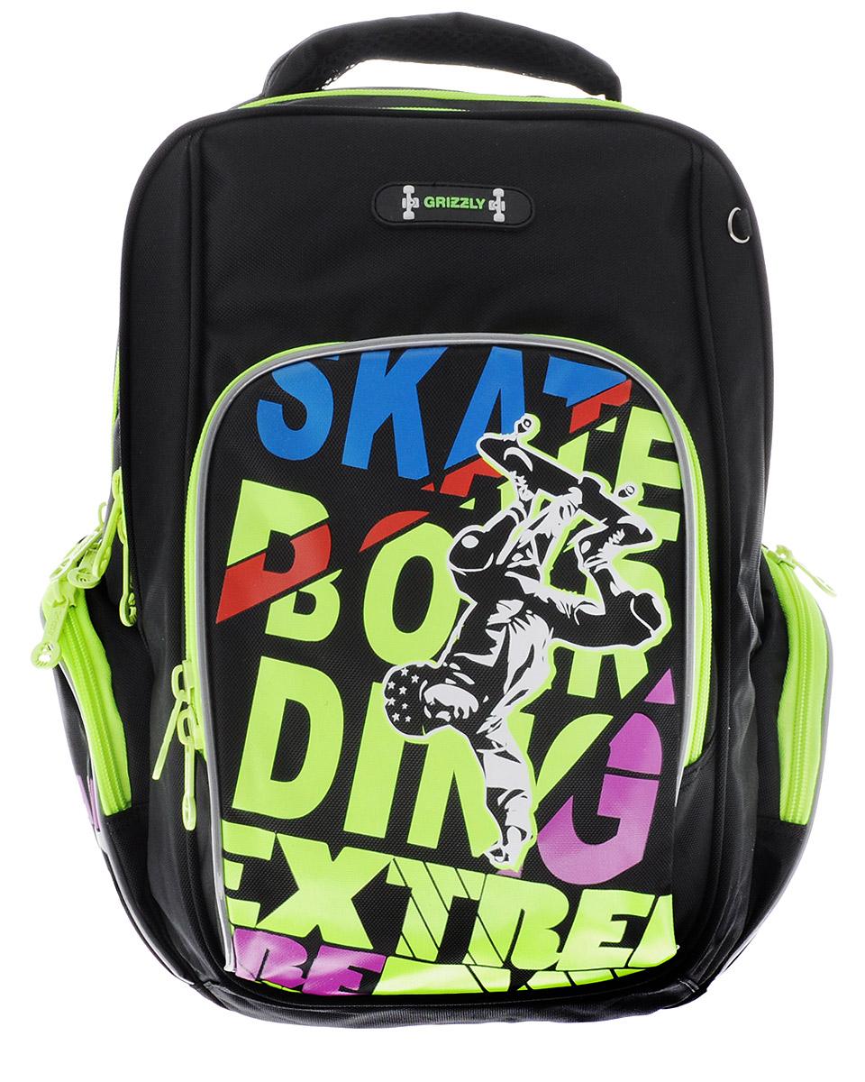 Grizzly Рюкзак детский SkatebordingRB-630-2/1Школьный рюкзак Grizzly. Skatebording - это красивый и удобный рюкзак, который подойдет всем, кто хочет разнообразить свои школьные будни. Рюкзак выполнен из плотного полиэстера и оформлен оригинальным ярким принтом и надписями. Рюкзак имеет два основных вместительных отделения на молнии. На лицевой стороне рюкзака имеется большой накладной карман на молнии, внутри которого расположился открытый карман-сетка. По бокам рюкзак дополнен накладными карманами на молниях. Бегунки застежек-молний дополнены удобными держателями с логотипом Grizzly. Рюкзак оснащен удобной ручкой для переноски, петлей для подвешивания и светоотражающими элементами. Широкие регулируемые лямки и сетчатые мягкие вставки на спинке рюкзака предохранят мышцы спины ребенка от перенапряжения при длительном ношении. Многофункциональный школьный рюкзак станет незаменимым спутником вашего ребенка в походах за знаниями.