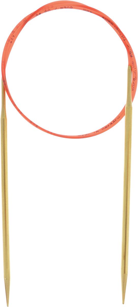 Спицы Addi, с удлиненным кончиком, круговые, цвет: золотистый, красный, диаметр 4 мм, длина 80 см755-7/4-80Спицы из латуни Addi с удлиненным кончиком, скрепленные гибким нейлоновым шнуром, не содержат никель и подходят чувствительным к этому металлу людям. Поверхность спиц менее гладкая, чем никелированная, что помогает при работе со скользкой пряжей. Изделие полое и легкое, поэтому руки абсолютно не устают при вязании. Поскольку латунь является природным материалом, возможно со временем изменение цвета спиц. Вы сможете вязать для себя, делать подарки друзьям. Работа, сделанная своими руками, долго будет радовать вас и ваших близких.