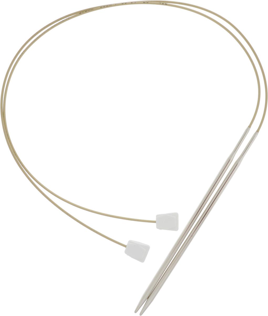 Спицы Addi, с фиксаторами на лесках, диаметр 3,5 мм, длина 50 см, 2 шт181-7/3.5-50Оригинальные спицы Addi - сочетание традиционных прямых спиц и гибкой лески с фиксатором на конце. Общая длина металлической части спиц и лески составляет 50 см, при этом вес этих спиц гораздо меньше традиционных прямых спиц. Гибкость лески позволяет распределить вес изделия, что облегчает вязание больших, тяжелых вещей. Фиксаторы из пластика не позволят полотну соскользнуть со спиц. Лёгкость скольжения петель обеспечивают никелевое покрытие металлической части и высококачественная нейлоновая леска. Все эти достоинства спиц с фиксаторами на лесках позволят вам в полной мере насладиться процессом вязания, а вещи, связанные с помощью таких спиц, будут согревать теплом вас и ваших близких.