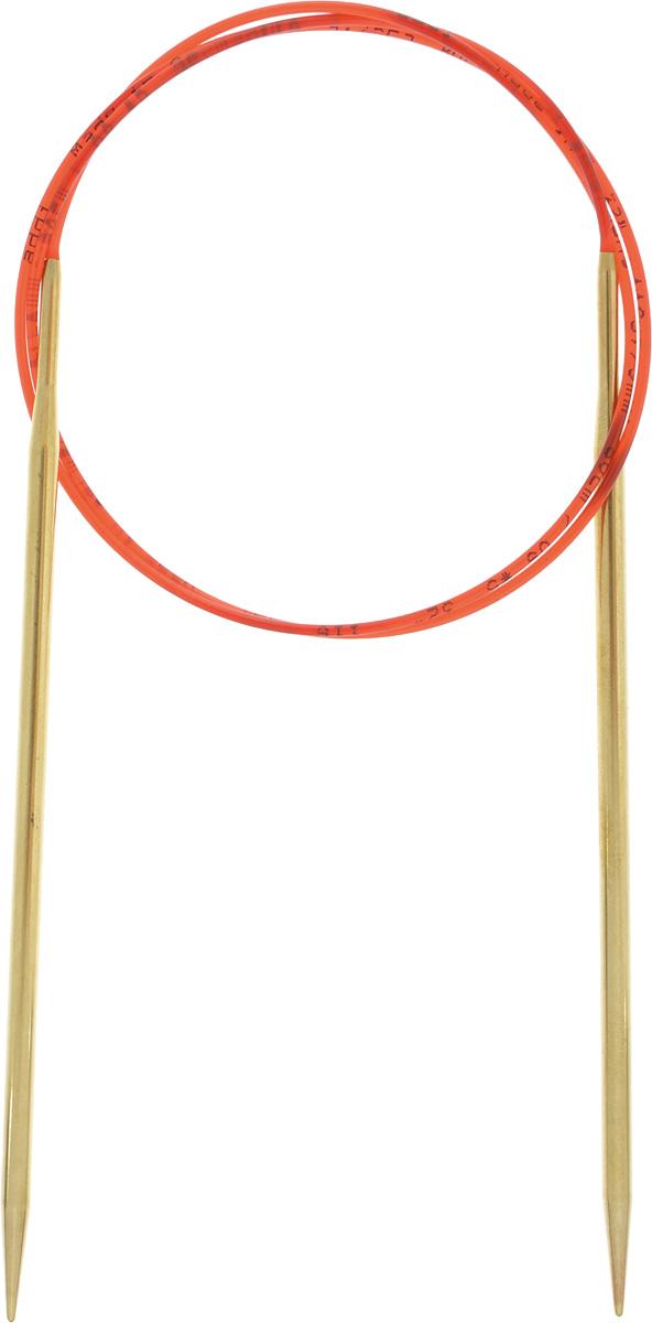 Спицы Addi, с удлиненным кончиком, круговые, цвет: золотистый, красный, диаметр 3,75 мм, длина 80 см755-7/3.75-80Спицы из латуни Addi с удлиненным кончиком, скрепленные гибким нейлоновым шнуром, не содержат никель и подходят чувствительным к этому металлу людям. Поверхность спиц менее гладкая, чем никелированная, что помогает при работе со скользкой пряжей. Изделие полое и легкое, поэтому руки абсолютно не устают при вязании. Поскольку латунь является природным материалом, возможно со временем изменение цвета спиц. Вы сможете вязать для себя, делать подарки друзьям. Работа, сделанная своими руками, долго будет радовать вас и ваших близких.