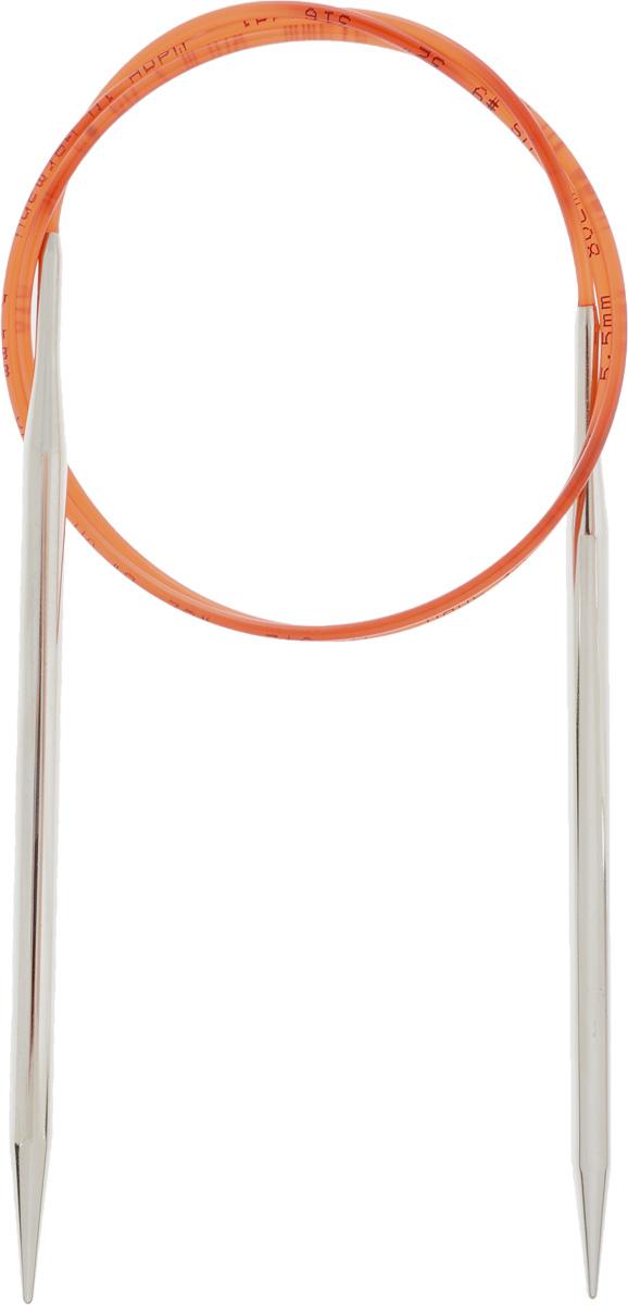Спицы Addi, с удлиненным кончиком, круговые, цвет: серебристый, красный, диаметр 5,5 мм, длина 80 см775-7/5.5-80Спицы Addi изготовлены из латуни с никелированной поверхностью. Полые, очень легкие спицы с удлиненным кончиком скреплены мягким и гибким нейлоновым шнуром. Гладкое никелированное покрытие и тонкие переходы от спицы к шнуру позволяют петлям легче скользить. Малый вес изделия убережет ваши руки от усталости при вязании. Вы сможете вязать для себя, делать подарки друзьям. Работа, сделанная своими руками, долго будет радовать вас и ваших близких.