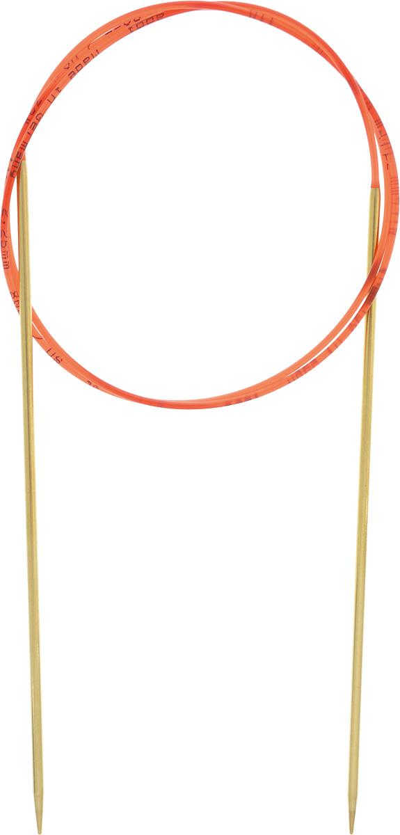 Спицы Addi, с удлиненным кончиком, круговые, цвет: золотистый, красный, диаметр 2,25 мм, длина 80 см755-7/2.25-80Спицы из латуни Addi с удлиненным кончиком, скрепленные гибким нейлоновым шнуром, не содержат никель и подходят чувствительным к этому металлу людям. Поверхность спиц менее гладкая, чем никелированная, что помогает при работе со скользкой пряжей. Изделие полое и легкое, поэтому руки абсолютно не устают при вязании. Поскольку латунь является природным материалом, возможно со временем изменение цвета спиц. Вы сможете вязать для себя, делать подарки друзьям. Работа, сделанная своими руками, долго будет радовать вас и ваших близких.