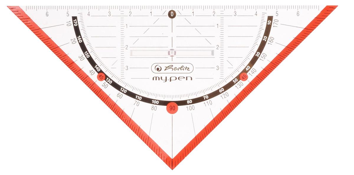 Herlitz Треугольник My Pen с держателем 16 см цвет красный11367968_красныйТреугольник «Herlitz, выполненный прозрачного пластика, подходит как для правшей, так и для левшей. От середины треугольника идет разметка до семи сантиметров, как в левую сторону, так и в правую. В центре имеется удобный пластиковый держатель. Благодаря нанесенной угловой разметке, треугольник может быть предназначен для построения углов без помощи транспортира. Такой треугольник просто незаменимый атрибут для любого школьника или студента.