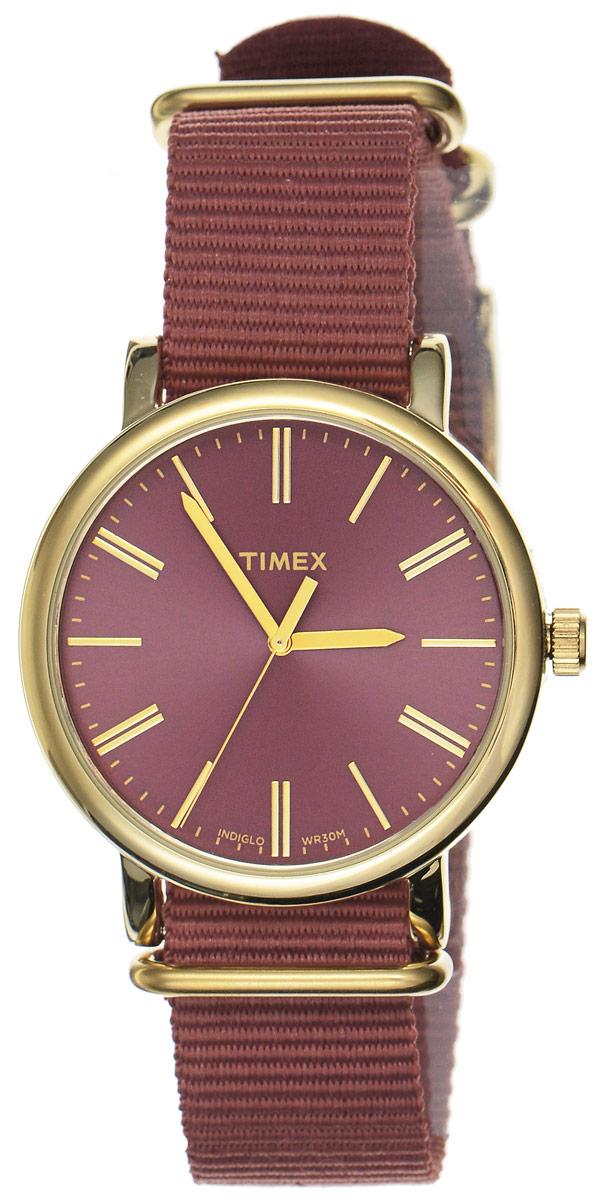 Часы наручные женские Timex Originals, цвет: коричнево-красный, золотой. TW2P78200TW2P78200Стильные часы Timex Originals выполнены из нержавеющей стали и минерального стекла. Циферблат оснащен запатентованной электролюминесцентной подсветкой INDIGLO и оформлен символикой бренда. Корпус изделия имеет степень влагозащиты 3 Bar, оснащен кварцевым механизмом и дополнен устойчивым к царапинам минеральным стеклом. Ремешок современного дизайна выполнен из нейлона и оснащен пряжкой, которая позволит с легкостью снимать и надевать изделие. Часы поставляются в фирменной упаковке. Часы Timex Originals подчеркнут изящество женской руки и отменное чувство стиля у их обладательницы.