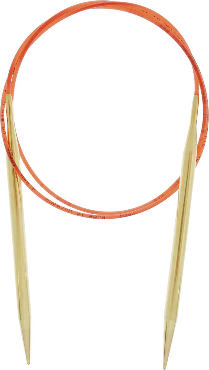 Спицы Addi, с удлиненным кончиком, круговые, цвет: золотистый, красный, диаметр 6,5 мм, длина 100 см755-7/6.5-100Спицы из латуни Addi с удлиненным кончиком, скрепленные гибким нейлоновым шнуром, не содержат никель и подходят чувствительным к этому металлу людям. Поверхность спиц менее гладкая, чем никелированная, что помогает при работе со скользкой пряжей. Изделие полое и легкое, поэтому руки абсолютно не устают при вязании. Поскольку латунь является природным материалом, возможно со временем изменение цвета спиц. Вы сможете вязать для себя, делать подарки друзьям. Работа, сделанная своими руками, долго будет радовать вас и ваших близких.