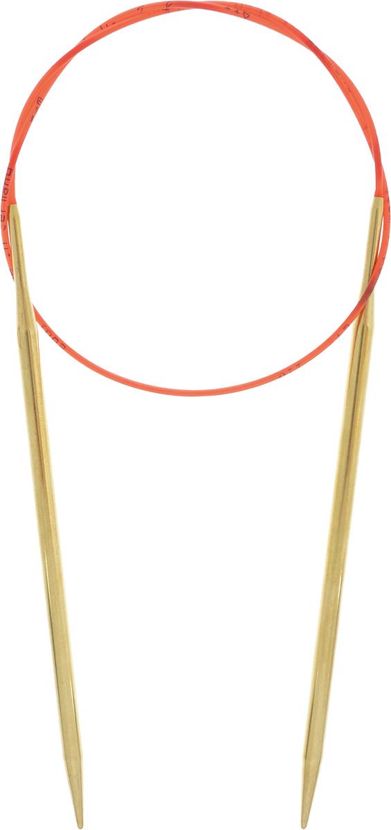 Спицы Addi, с удлиненным кончиком, круговые, цвет: золотистый, красный, диаметр 4,5 мм, длина 60 см755-7/4.5-60Спицы из латуни Addi с удлиненным кончиком, скрепленные гибким нейлоновым шнуром, не содержат никель и подходят чувствительным к этому металлу людям. Поверхность спиц менее гладкая, чем никелированная, что помогает при работе со скользкой пряжей. Изделие полое и легкое, поэтому руки абсолютно не устают при вязании. Поскольку латунь является природным материалом, возможно со временем изменение цвета спиц. Вы сможете вязать для себя, делать подарки друзьям. Работа, сделанная своими руками, долго будет радовать вас и ваших близких.