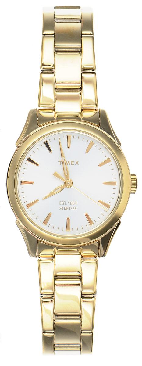 Часы наручные женские Timex Style Elevated, цвет: золотистый. TW2P81800TW2P81800Элегантные женские часы Timex Style Elevated выполнены из металлического сплава и нержавеющей стали, оформлены символикой бренда. Лаконичный корпус надежно защищен устойчивым к царапинам минеральным стеклом, а также имеет степень влагозащиты 3 Bar. Часы оснащены кварцевым механизмом, дополнены изящным браслетом, который застегивается на практичную пряжку. Часы поставляются в фирменной упаковке. Часы Timex Style Elevated подчеркнут изящество женской руки и отменное чувство стиля у их обладательницы.
