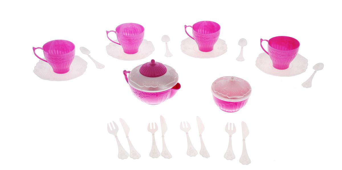 Нордпласт Игрушечный чайный сервиз Волшебная Хозяюшка, 22 предмета, цвет: белый, сиреневыйН-620_белый, сиреневыйНабор детской посуды Чайный сервиз: Волшебная Хозяюшка - отличный подарок для вашей маленькой хозяюшки, которой так хочется быть самостоятельной! Он поможет малышке научиться накрывать на стол к обеду. В комплект набора входит все необходимое для веселого кукольного чаепития: 4 блюдца, 4 чашки, 4 ложки, 4 вилки, 4 ножа, кофейник с крышкой и сахарница с крышкой. Элементы набора выполнены из прочного пластика ярких цветов. Ваша малышка сможет часами играть с этим замечательным набором, выдумывая различные истории и разыгрывая сказочное чаепитие. Такие игры развивают мелкую моторику, социальные навыки и воображение, а также помогут ребенку познакомиться с различными цветами и формами. Порадуйте свою малышку таким замечательным подарком!