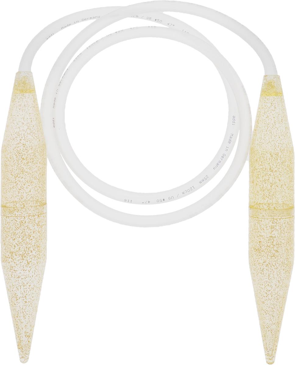 Спицы Addi, пластиковые, круговые, диаметр 25 мм, длина 120 см405-7/25-120Спицы Addi выполнены из высококачественного прозрачного пластика с золотыми блестками. Гладкая поверхность дает дополнительное скольжение пряжи при вязании. Кончики спиц закругленные. Спицы скреплены гибким и прочным пластиковым шнуром. Благодаря большой толщине спиц руки абсолютно не устают при вязании. Вы сможете вязать для себя, делать подарки друзьям. Работа, сделанная своими руками, долго будет радовать вас и ваших близких.