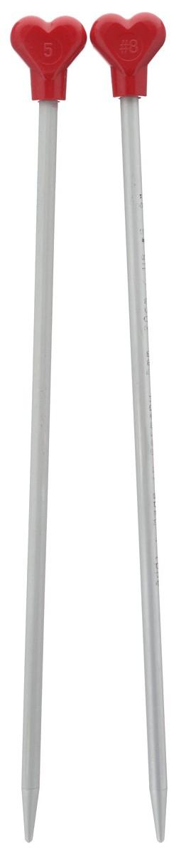 Спицы Addi, металлические, прямые, диаметр 5 мм, длина 20 см, 2 шт200-7/5-20Спицы для вязания Addi, изготовленные из алюминия, обладают прекрасными тактильными качествами и благородным серебристо-матовым цветом. На кончиках в качестве стопперов есть фирменный логотип Addi в виде сердечка, что придает спицам уникальный вид. Прямые спицы используются при плоском вязании отдельных деталей, которые впоследствии будут сшиты в цельное изделие. Вы сможете вязать для себя и делать подарки друзьям. Рукоделие всегда считалось изысканным, благородным делом. Работа, сделанная своими руками, долго будет радовать вас и ваших близких.