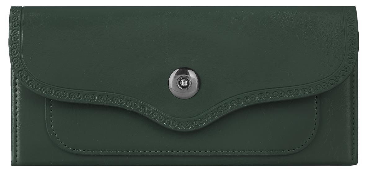Кошелек женский Leighton, цвет: темно-зеленый. 00051493
