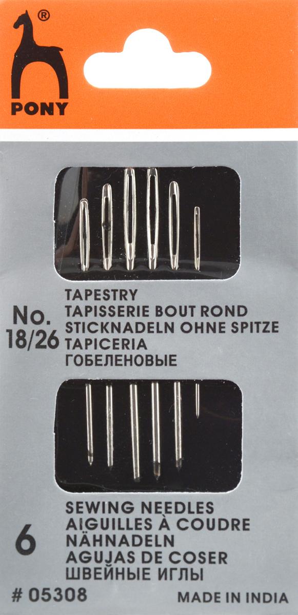 Иглы ручные Pony Tapestry, для гобеленовых и трикотажных тканей, №18/26, 6 шт05308Иглы ручные Pony Tapestry, выполненные из стали, могут быть использованы для большинства вышивальных работ. Имеют закругленное острие и большое золотое ушко, благодаря чему легко заправляются. Длина игл: 3,25-4,85 см. Размер игл: №18/26. Диаметр игл: 0,61-1,27 мм.