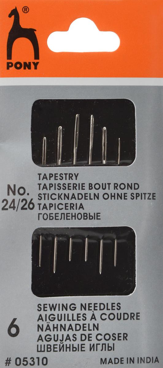 Иглы ручные Pony Tapestry, для гобеленовых и трикотажных тканей, №24/26, 6 шт05310Иглы ручные Pony Tapestry, выполненные из стали, могут быть использованы для большинства вышивальных работ. Имеют закругленное острие и большое золотое ушко, благодаря чему легко заправляются. Длина игл: 3,25 см, 3,45 см, 3,7 см. Размер игл: №24/26. Диаметр игл: 0,61 мм, 0,69 мм, 0,76 мм.