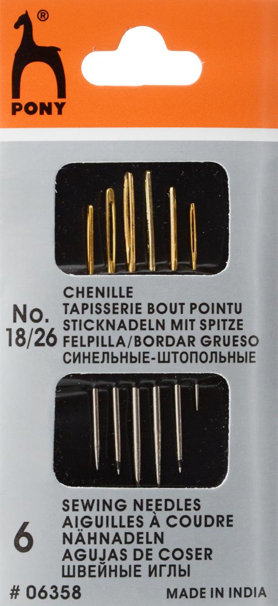 Иглы ручные Pony, для синели и глади, с золотым ушком, №18/26, 6 шт06358Иглы для синели и глади Pony, выполненные из высококачественной стали, имеют большое удлиненное ушко золотого цвета и острый кончик. Используются для структурных плетеных лент и лент для вышивания. Длина игл: 3,25-4,85 см. Размер игл: №18/26. Диаметр игл: 0,61-1,27 мм.