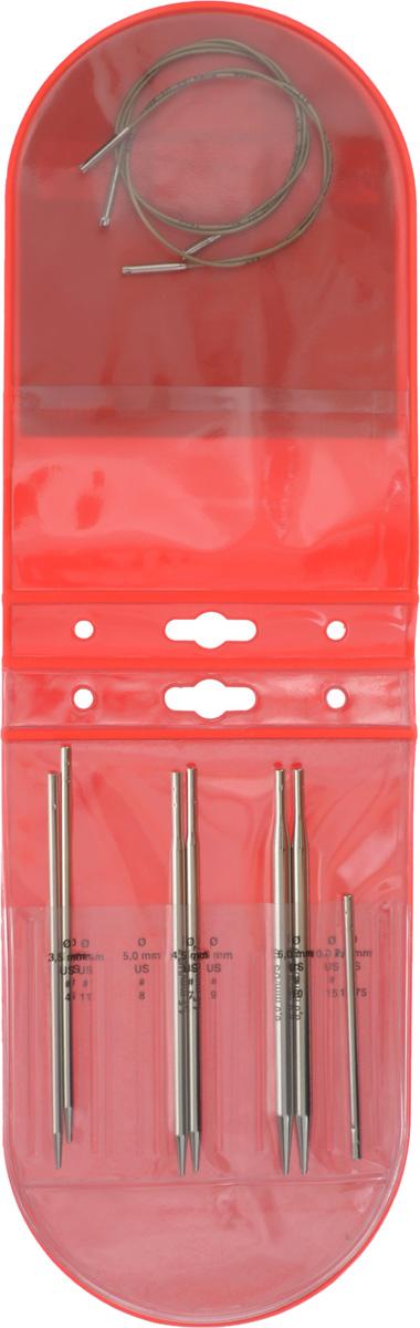 Набор стартовый Addi Click, для комбинирования спиц системы, 10 предметов660-7/000Стартовый набор Addi Click состоит из 3 пар спиц, лески, а также переходника для удлинения лески. Все предметы набора хранятся в пластиковом чехле. В нем имеются свободные отделы для комплектации полного размерного ряда спиц Addi Click. Спицы и переходник выполнены из латуни с никелевым покрытием. Леска - из пластика и металла. Благодаря известной на весь мир и единственной системе смены спиц Click их не надо ввинчивать и использовать ключ. Они просто и удобно защелкиваются, не оставляя абсолютно никакого зазора между спицей и леской. Также такая система позволяет работать с двумя спицами различной толщины. С таким набором вы сможете вязать для себя и делать подарки друзьям. Рукоделие всегда считалось изысканным, благородным делом. Работа, сделанная своими руками, долго будет радовать вас и ваших близких. Диаметр спиц: 3,5 мм; 4,5 мм; 6 мм. Длина спиц: 12,5 см; 12,8 см; 12,9 см. Длина переходника: 8,4...