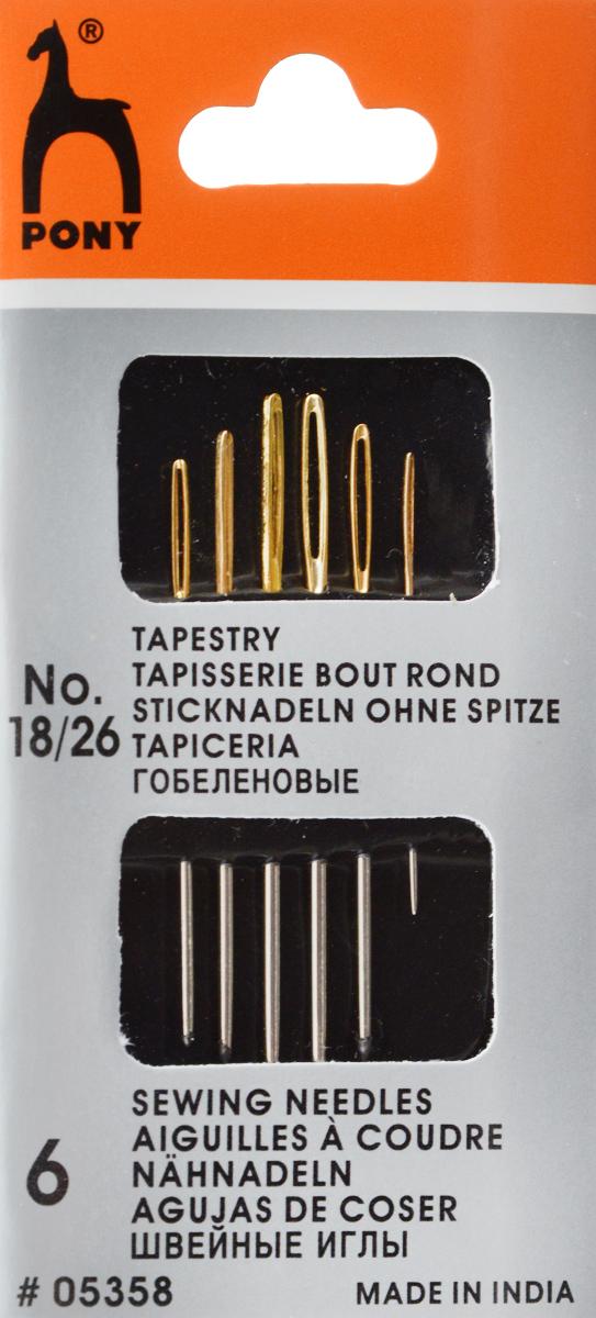 Иглы ручные Pony Tapestry, для гобеленовых и трикотажных тканей, с золотым ушком, №18/26, 6 шт05358Иглы ручные Pony Tapestry, выполненные из стали, могут быть использованы для большинства вышивальных работ. Имеют закругленное острие и большое золотое ушко, благодаря чему легко заправляются. Длина игл: 3,25-4,85 см. Размер игл: №18/26. Диаметр игл: 0,61-1,27 мм.